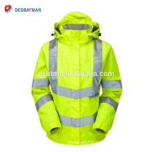 EN Standard Ladies Hooded High Visibility Workwear Parka Wholesale Hi Vis Reflective Safety Jackets With Logo Manufacturers