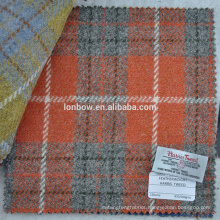 Orange check harris tweed fabric with authorized label for phone case