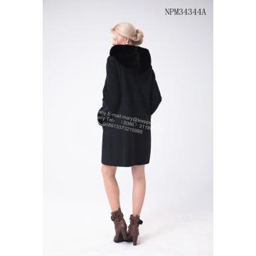 오스트레일리아 메리노 Shearling Coat With Mink Flower