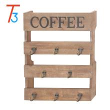 Estante de exhibición del sostenedor de taza de la taza de café de madera antorchada montada en la pared 8