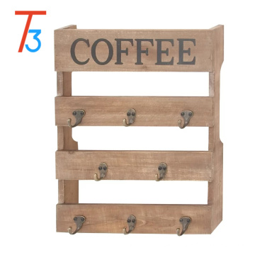 Wall Mounted 8 Hook Torched Wood Coffee Mug Cup Holder Display Rack