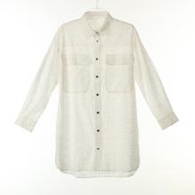 Camisas de algodão compridas com botão de pressão