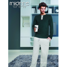 Miorre Wholesale Men's Long Sleeve %100 Cotton Pajamas Set With Button & Pockets