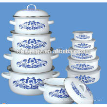 Carbon steel enamel high hot pot sets with coating high quality with bowl gift