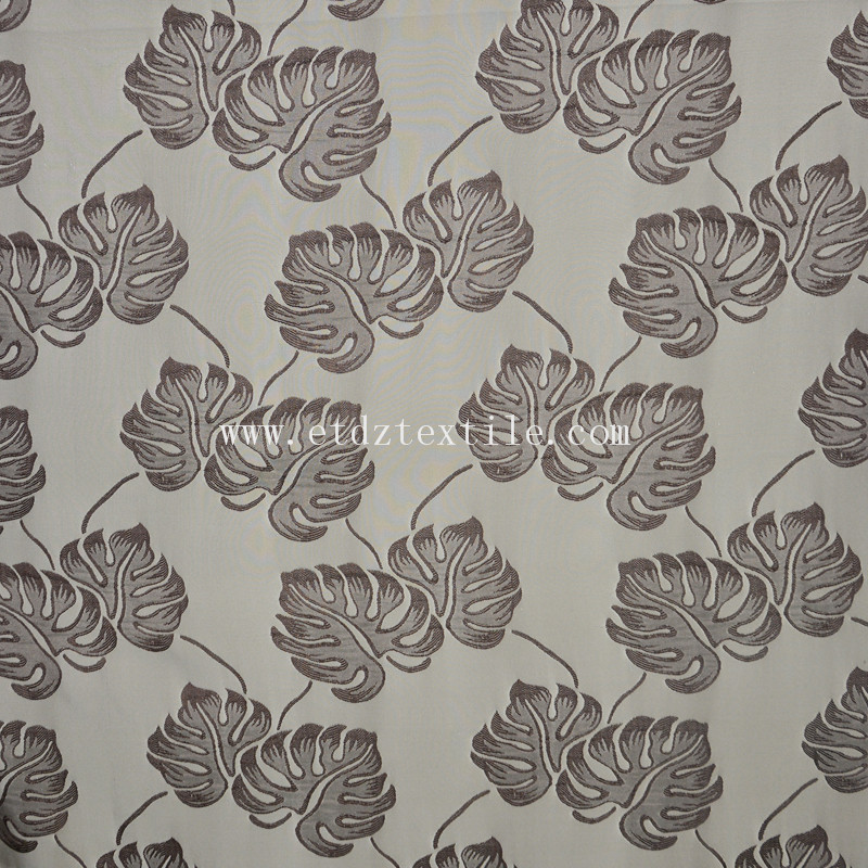 High Grade of Polyester Jacquard Curtain Fabric WZQ206 Chocolate