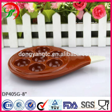 bandeja feita sob encomenda do ovo da cor, cerâmica feita-à-medida com punho, placa do ovo, especial