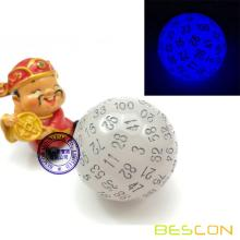 Bescon Glow en Dark Polyhedral Dice 100 lados, Luminoso D100 muere, 100 Sided Cube, D100 Game Dice, Glowing 100-Sided Cube