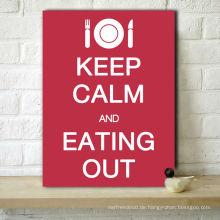 Großes Wort Halten Sie Clam und Essen für Restaurant Leinwand drucken Wand Kunst