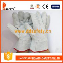 Cuir fendu de vache avec la couleur naturelle fendue sur le gant de paume (DLW601)