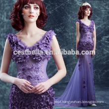 2 Layers Purple Transparent Sexy Mermaid Evening Dress Tight Prom Dress