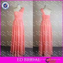 ED Bridal Pink Real Pictures Um Ombro Chiffon Flower Long Vestido de dama de honra 2017