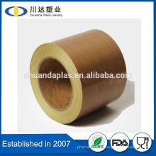 La venta caliente PTFE recubrió la cinta adhesiva de la película de PTFE de la tela de la fibra de vidrio para la máquina del paquete de los pulsos