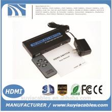 Brand New Switch HDMI 4x1 Suporte HDMI 1.4 3D vídeo 1080P com controle remoto IR