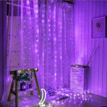 Romántico púrpura carámbano cortina de cobre luces estrelladas