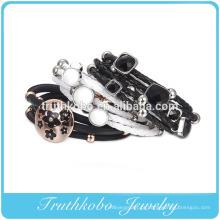 Moda mulher 2014 prata ou rosa banhado a ouro de aço inoxidável diy cordão de couro pulseira da amizade pulseira