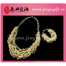 fashion handmade chain rope chunky braided necklace for girls