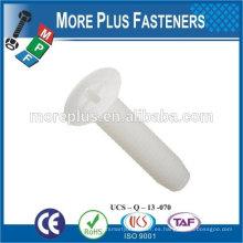 Hecho en Taiwán alta calidad phillips tornillos de cabeza plana para tornillos nylong de plástico