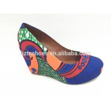 Women wedge pumps closed toe digital print canvas high heel pumps shoes