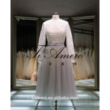 1A905 Formal Elegant Round Neck High Waist Lace Sash Long Sleeve Bridemaid Dress Evening Dress