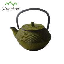 Pot de thé enduit d'émail vert de vente chaude en gros de fonte