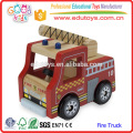 2016 Lovely Cartoon Fire Truck Toy for kid, Red Color Mini Wooden Fire Truck Toy for children, Crafted Mini Fire Truck Toy