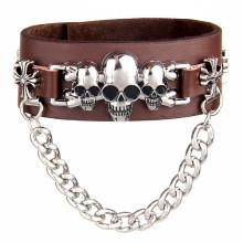 Customized Fashion Metal Charms Leather Bracelets (HJ6104)