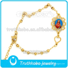 Wholesale Religious Charm Christ Medal Bracelet Stainless Steel Gold Bracelet St.Holy Image Women Bracelet