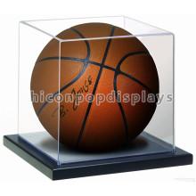Merchandising Counter Top Base de madeira Clear Acrílico Cover Mini Single Basketball Display Case