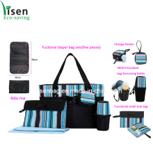 Fashion Stripe Diaper Bag Set (five pieces)