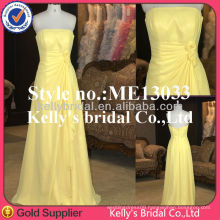 Yellow formal strapless ruched elegant Chiffon evening dress long