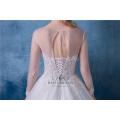 Boho país vestido de noiva mangas compridas a linha de jóias lace boho vestidos de noiva 2018