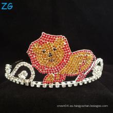 Tiara linda del león del Rhinestone colorido para los cabritos cristalinos corona del metal de los cabritos