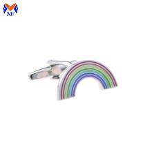 Design de arco-íris de aço inoxidável esmalte abotoadura