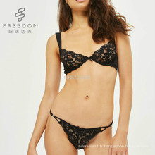 FDBL7112902 Dames sexy chaud bonne qualité pas cher prix de mode en gros plus la taille transparente dentelle soutien-gorge et culotte ensemble