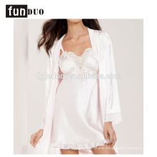 2018 Women satin pajama white fahion home dress night-robe