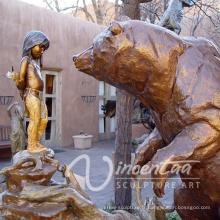extérieur jardin décoration métal artisanat ours bronze garçon sculpture