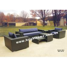Alumínio PE Rattan Wicker Sofa Set Outdoor Mobiliário Bp-874