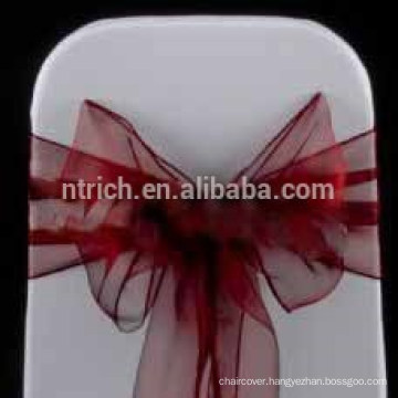 cheap wholesale hot selling chair hood/fancy burgandy organza chair sash/chair sash for wedding banquet hotel