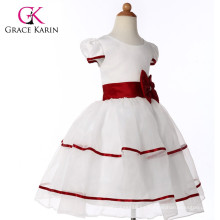 Grace Karin rojo y blanco de manga corta flor vestidos de niñas CL4605
