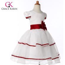 Grace Karin Red And White Short Sleeve Flower Girls Dresses CL4605