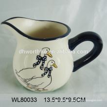 Jarro de água de cerâmica design design personalizado, jarro de leite de cerâmica com padrão de pato