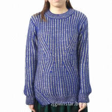 Women's crew neck long sleeves knitted pullover, made of 100% acrylic slub yarn