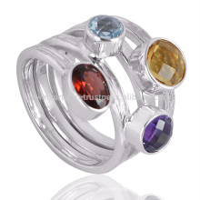 New Stylish Multi Gemstone 925 Sterling Silver Classical Ring