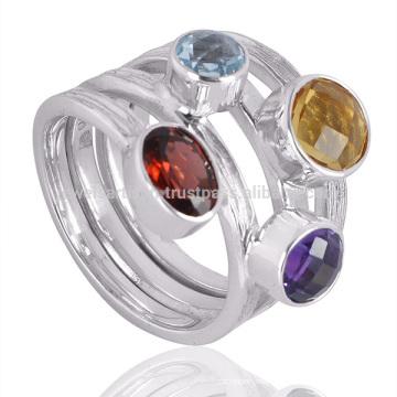 Neuer stilvoller multi Edelstein 925 Sterlingsilber klassischer Ring