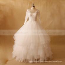 Elegante Multi capas largo manga exquisita cuentas de encaje vestido de boda de la bola