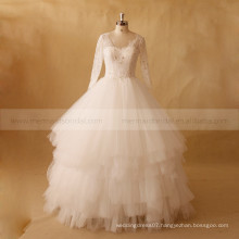 Elegant Multi Layers Long Sleeve Exquisite Beads Lace Ball Wedding Dress