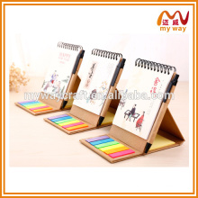 2016 the latest products of spiral notepad with calendar printing for gift