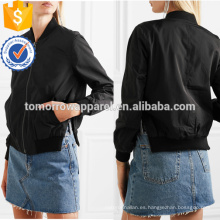 Black Bomber Jacket OEM / ODM Manufacture Wholesale Fashion Women Apparel (TA7003J)