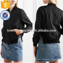 Noir Bomber Veste OEM / ODM Fabrication En Gros Mode Femmes Vêtements (TA7003J)