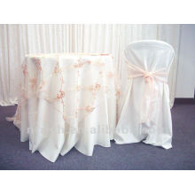 beautiful polyester visa chair cover with organza sash for wedding and banquet